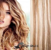 60 cm kudrnaté vlasy pro metodu Tape IN - odstín světlý melír #12/613