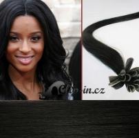 60 cm vlasy pro metodu Keratin 0,5 g - odstín uhlově černá #1