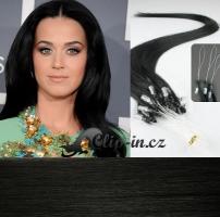 60 cm vlasy pro metodu Micro Ring 0,5 g - odstín uhlově černá #1