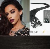 60 cm vlasy pro metodu Micro Ring 0,5 g - odstín přírodní černá #1b