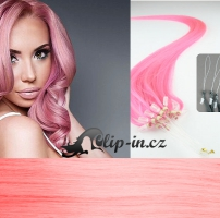 60 cm vlasy pro metodu Micro Ring 0,7 g - odstín růžová