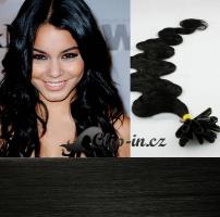 60 cm vlnité vlasy pro metodu Keratin 0,5 g - odstín uhlově černá #1
