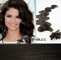 60 cm vlnité vlasy pro metodu Keratin 0,5 g - odstín přírodní černá #1b
