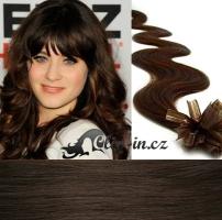 60 cm vlnité vlasy pro metodu Keratin 0,5 g - odstín tmavě hnědá #2