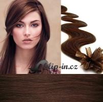 60 cm vlnité vlasy pro metodu Keratin 0,5 g - odstín středně hnědá #4