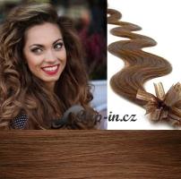 60 cm vlnité vlasy pro metodu Keratin 0,5 g - odstín světlejší hnědá #6