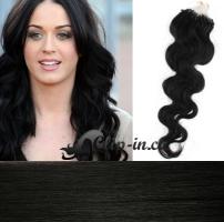 60 cm vlnité vlasy pro metodu Micro Ring 0,5 g - odstín uhlově černá #1