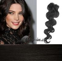60 cm vlnité vlasy pro metodu Micro Ring 0,5 g - odstín přírodní černá #1b