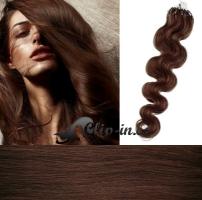 60 cm vlnité vlasy pro metodu Micro Ring 0,7 g - odstín středně hnědá #4