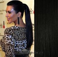 Clip in culík rovný 100% lidské remy vlasy 50 cm - uhlově černá #1