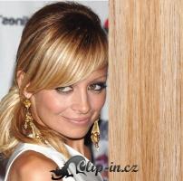 Clip in culík rovný 100% lidské remy vlasy 50 cm - přírodní/světlejší blond #18/22