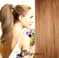 Clip in culík rovný 100% lidské remy vlasy 60 cm - světle hnědá #12