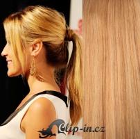 Clip in culík rovný 100% lidské remy vlasy 60 cm - přírodní blond #22