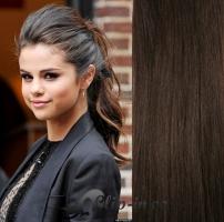 Clip in culík vlnitý 100% lidské remy vlasy 50 cm - tmavě hnědá #2