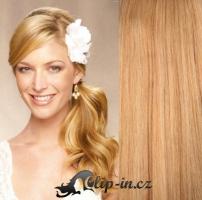 Clip in culík vlnitý 100% lidské remy vlasy 50 cm - přírodní blond #22