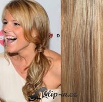 Clip in culík vlnitý 100% lidské remy vlasy 50 cm - světlý melír #12/613