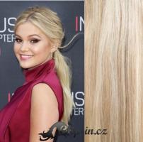Clip in culík vlnitý 100% lidské remy vlasy 50 cm - platina/světle hnědá #60/16