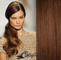 Clip in culík vlnitý 100% lidské remy vlasy 60 cm - středně hnědá #6