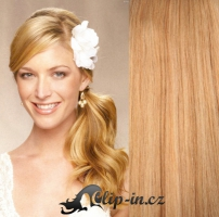 Clip in culík vlnitý 100% lidské remy vlasy 60 cm - přírodní blond #22