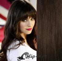 Clip in pás 100% lidské remy vlasy 41cm tmavě hnědá #2