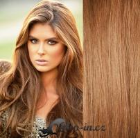 Clip in pás 100% lidské remy vlasy 41cm světle hnědá #12