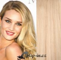 Clip in pás 100% lidské remy vlasy 41cm nejsvětlejší blond #613