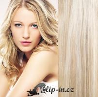 Clip in pás 100% lidské remy vlasy 41cm platina/světle hnědá #60/16