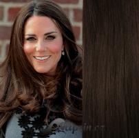 Clip in pás 100% lidské remy vlasy 51cm tmavě hnědá #2