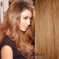 Clip in pás 100% lidské remy vlasy 51cm světle hnědá #12