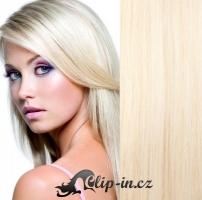 Clip in pás 100% lidské remy vlasy 51cm platina #60