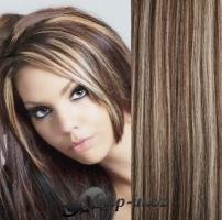 Clip in pás 100% lidské remy vlasy 51cm tmavý melír #4/27