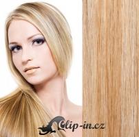 Clip in pás 100% lidské remy vlasy 51cm přírodní/světlejší blond #18/22
