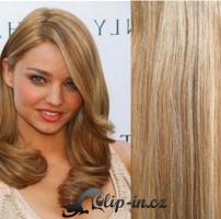 Clip in pás 100% lidské remy vlasy 51cm světlý melír #12/613