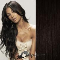 Clip in pás 100% lidské remy vlasy 61cm přírodní černá #1b
