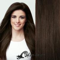 Clip in pás 100% lidské remy vlasy 61cm tmavě hnědá #2