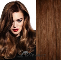 Clip in pás 100% lidské remy vlasy 61cm středně hnědá #6