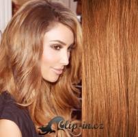 Clip in pás 100% lidské remy vlasy 61cm světle hnědá #12