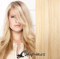 Clip in pás 100% lidské remy vlasy 61cm nejsvětlejší blond #613