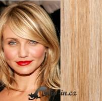 Clip in pás 100% lidské remy vlasy 61cm přírodní/světlejší blond #18/22