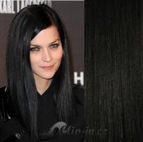 Clip in pás 100% lidské remy vlasy 41 cm vlnitý uhlově černá #1