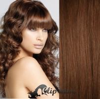 Clip in pás 100% lidské remy vlasy 41 cm vlnitý středně hnědá #6