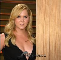 Clip in pás 100% lidské remy vlasy 41 cm vlnitý přírodní blond #22