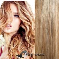 Clip in pás 100% lidské remy vlasy 41 cm světlý melír #12/613