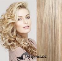 Clip in pás 100% lidské remy vlasy 41 cm platina/světle hnědá #60/16