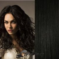 Clip in pás 100% lidské remy vlasy 51 cm vlnitý uhlově černá #1