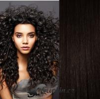 Clip in pás 100% lidské remy vlasy 51 cm vlnitý přírodní černá #1b