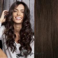Clip in pás 100% lidské remy vlasy 51 cm vlnitý tmavě hnědá #2