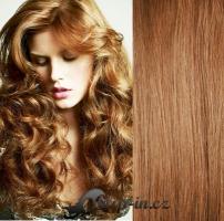Clip in pás 100% lidské remy vlasy 51 cm vlnitý světle hnědá #12