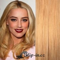 Clip in pás 100% lidské remy vlasy 51 cm vlnitý přírodní blond #22