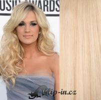 Clip in pás 100% lidské remy vlasy 51 cm vlnitý nejsvětlejší blond #613